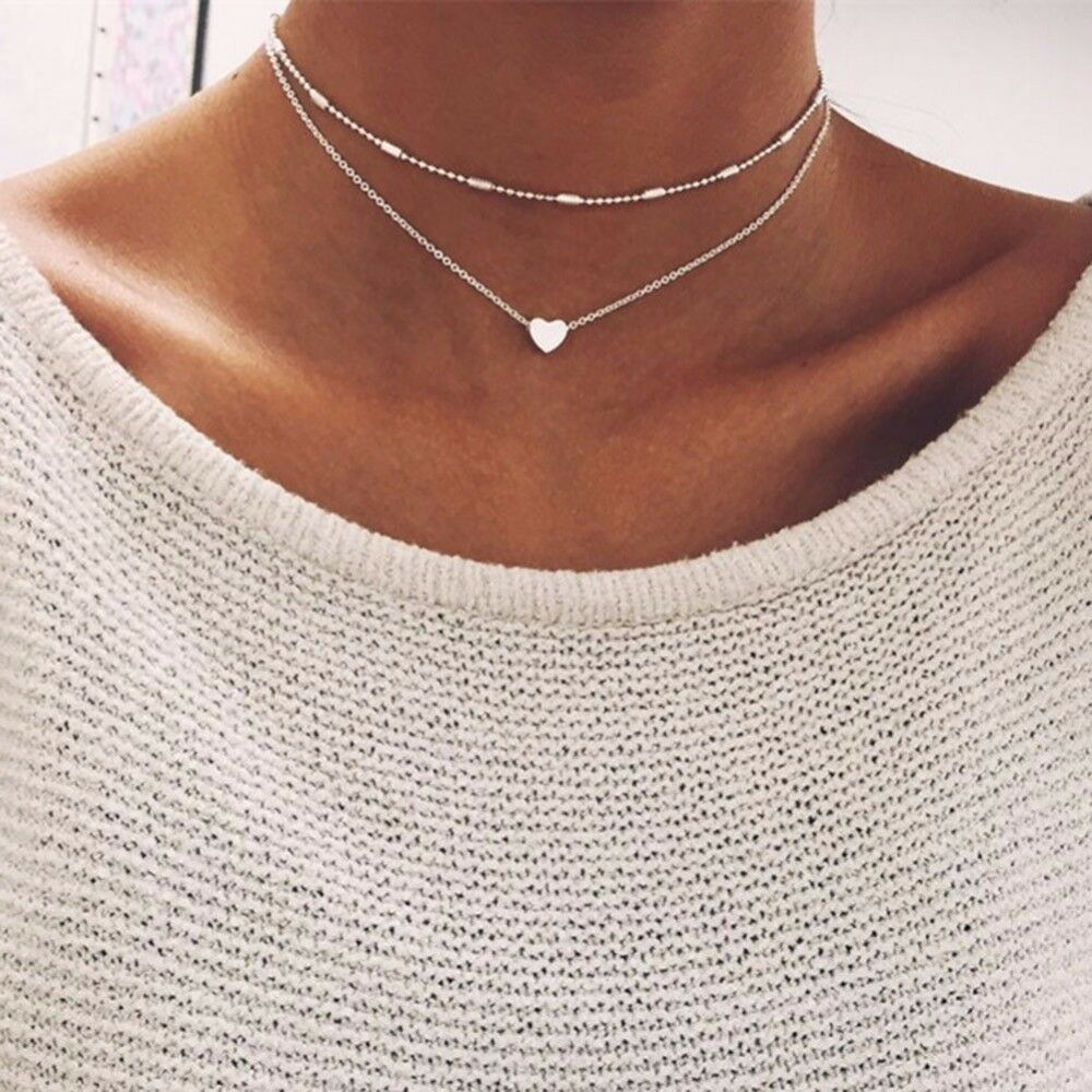 Doppel Kette Silber 2er Halskette Herz Blogger Vintage Schmuck TOP