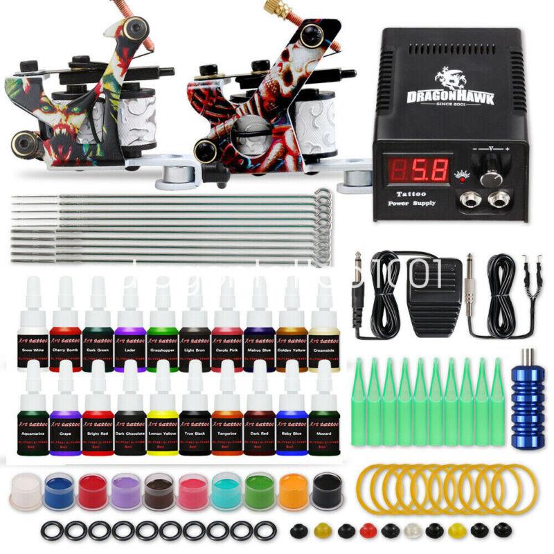 Dragonhawk Tattoo Kit Supplies Equipment Set 20 Color Ink Needles Power Tip Grip