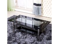 black coffee table silver chrome legs USED center table