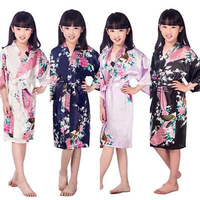 Kids Robe-Flower Girl Robe-Floral Satin Robe-flower Girl Gift-Baby Shower Gift ! (Childrens Robes)