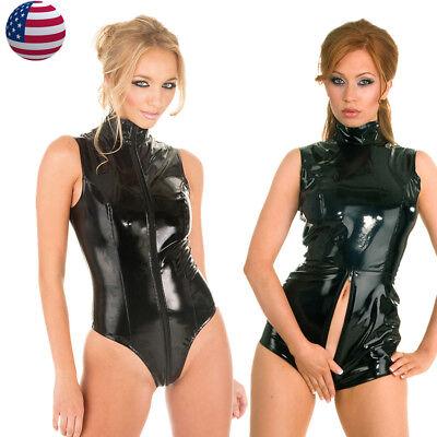 US Women Shiny Black PVC Teddies Bodysuit Catsuit Jumpsuit Bodycon Clubwear](Shiny Black Bodysuit)
