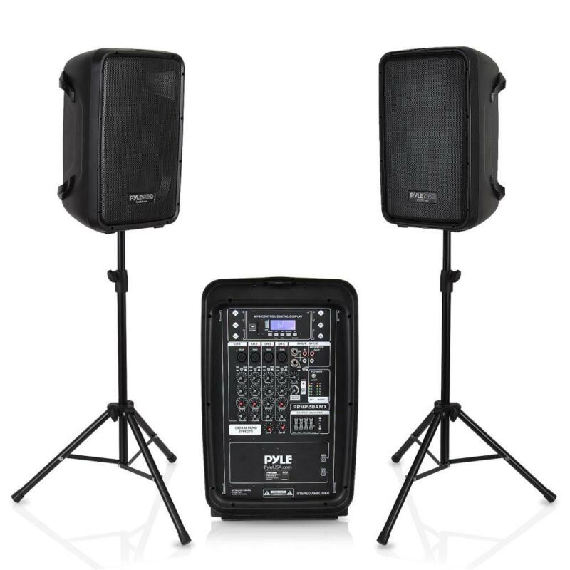 Pyle Stage and Studio 8 Inch Bluetooth PA Loud Speaker and 8 Channel Audio Mixer