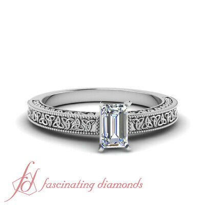 1/2 Carat Single Emerald Cut Diamond Celtic Engagement Ring In Platinum FLAWLESS