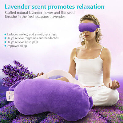 Lavender Sleeping Mask For Yoga Travel Eye Relax  Flax Seed Hot Cold Therapy Aid