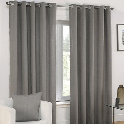 PLAIN EYELET RING TOP FULLY LINED PAIR READY MADE CURTAINS CREAM ...