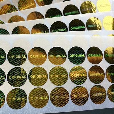 hologram original Gold label sticker diameter 0.6