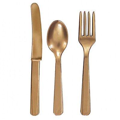 24 X Goldfarbener Kunststoff Besteckset Messer Gabeln Löffel 8 von Eash Einweg
