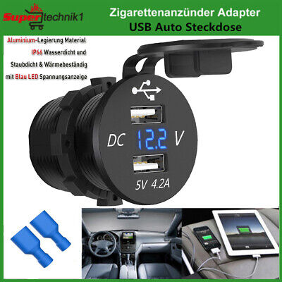 12V/24V Auto KFZ Einbau Motorrad 2x USB Zigarettenanzünder Steckdose Ladegerät