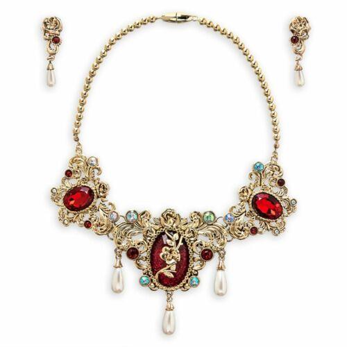 Disney Store Belle Metal Jewelry Set Earrings Necklace Beauty & the Beast