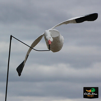 Goose Flying Decoy - WHITE ROCK DECOY COMPANY DECK BOSS FLYING FLYER SNOW GOOSE DECOY FLAPPING MOTION