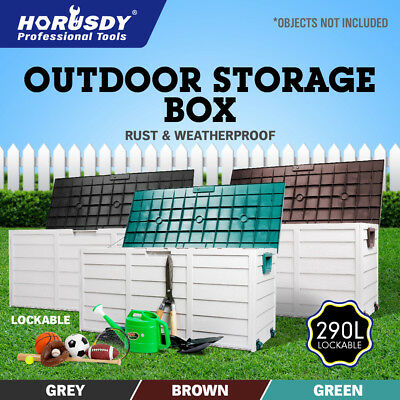290L Outdoor Storage Box Lockable Weatherproof Garden Deck Toy Shed Organiser