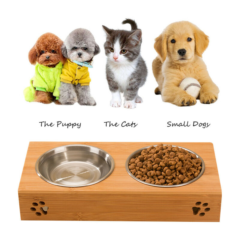 UK Dog CAT Pet Bamboo Dish Rack Bowls Bamboo Stand Stainless Steel Food  Feeding | eBay