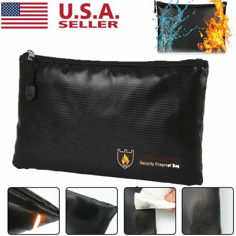 2000℉ Fire Proof money Bag Fireproof Document Pouch Waterproof Safe Cash US