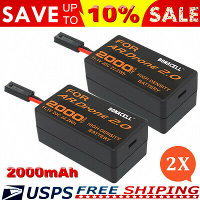 2 Pack 2000mAh 11.1V 20C Upgrade Lipo Battery for AR.Drone 2.0 Quadcopter US