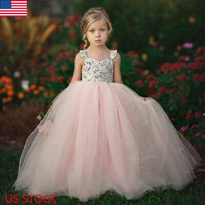Flower Girl Kids Lace Tutu Dress Princess Party Wedding Bridesmaid Tulle - Girls Princess Nightgown