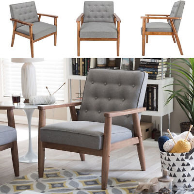 US Modern Fabric Arm Chair Single Sofa Seat Leisure Living Room Furniture Grey