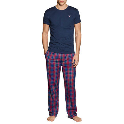 Mens GANT Yale Pyjama Set Blue/Red Small CS171 EE 15