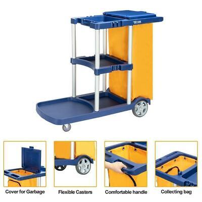 550 Lbs Capacity Commercial Cleaning Janitorial Cart 3 Shelf With Yellow Bag