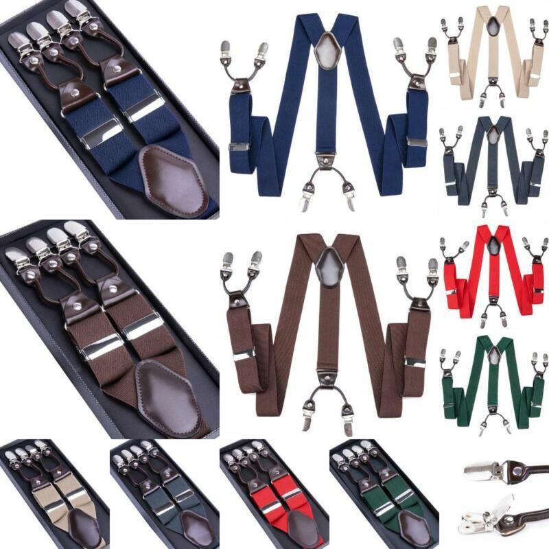 Dibangu Adjustable Mens Braces Heavy Duty Elastic Clip Suspenders Black Gift Box