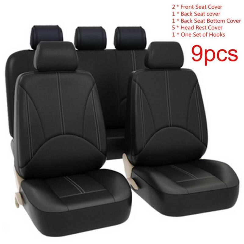9Pcs Black Universal Car Seat Cover Set Leather Cushion 5 Seats Full Protect L