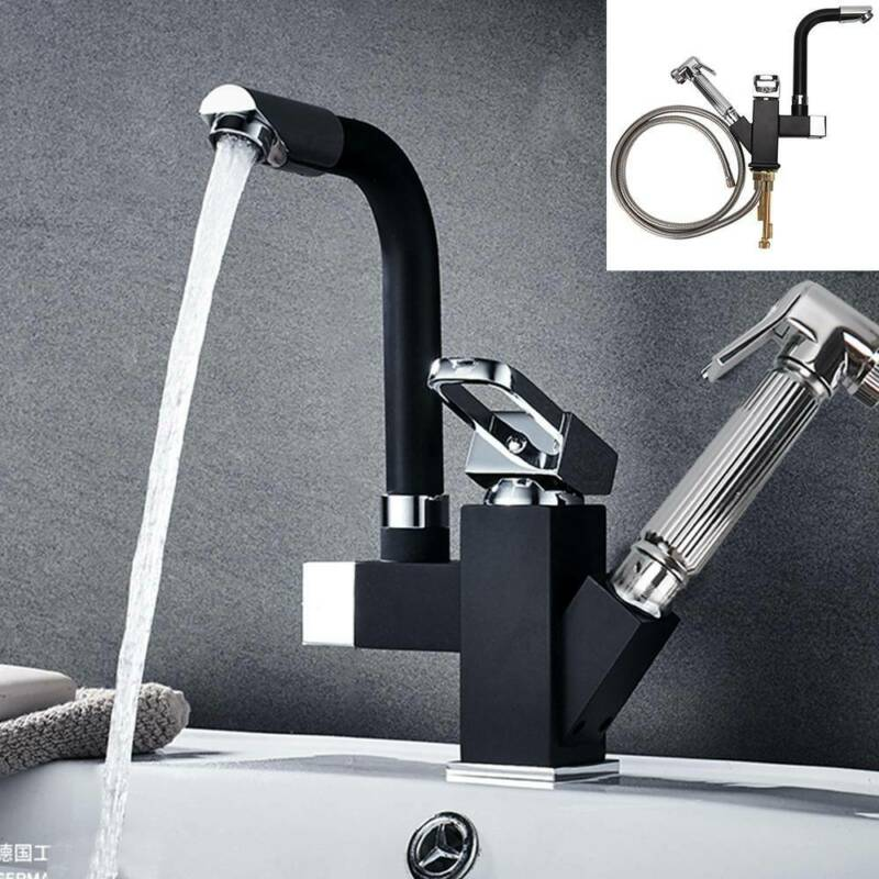Bath Kitchen Sink Mixer Taps Pull-Out Single Lever Spray Mono Tap Hot+Cold Hoses