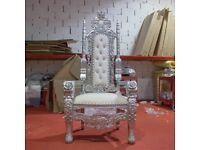 2 x New Silver leaf Rose King Queen Throne Chair Wedding Luxury Hand made French Italian Furniture