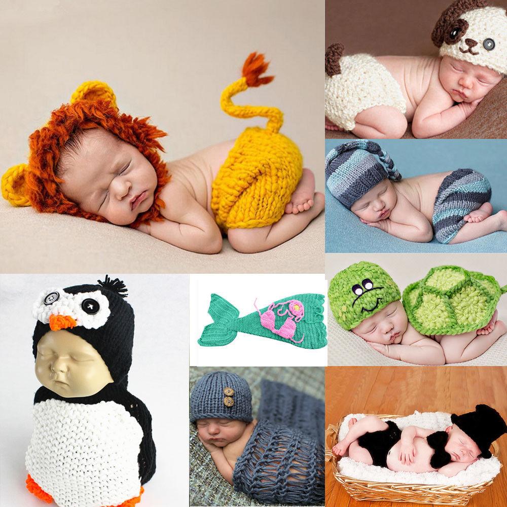 Newborn Baby Cute Cartoon Crochet Knit Costume Prop Outfits Photo Photography