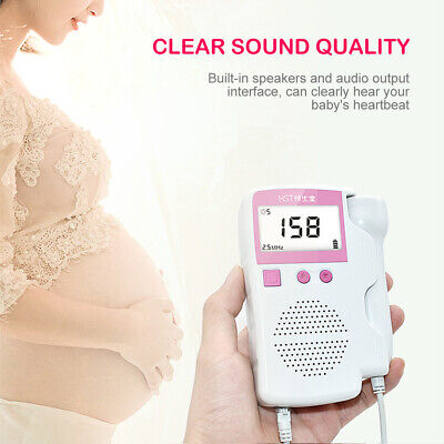 Us Lcd Fetal Heart Rate Monitor Heart Beat Detector Pregnant Checker Pink