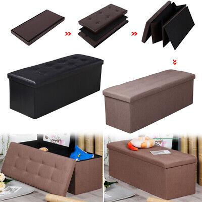 Linen/PU Storage Ottoman Folding Coffee Bench Living Room Decor Footstool Box Coffee Decorative Storage Box