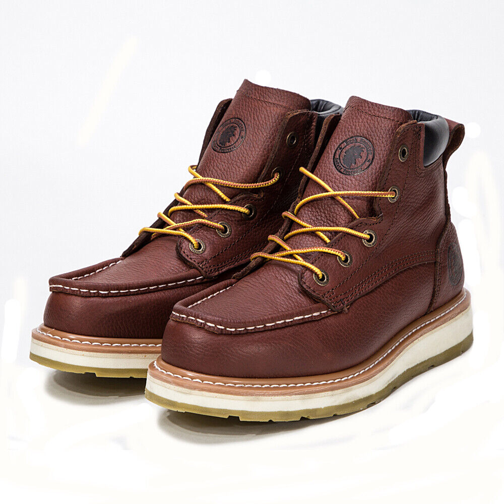 wedge work boots soft toe genuine leather