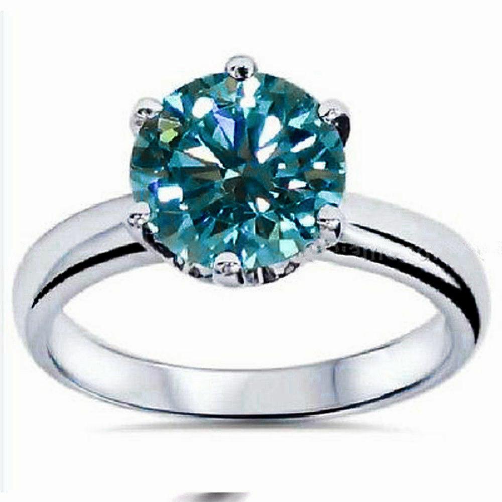 2 Ct Solitaire Blue Moissanite Engagement Ring 14K White Gol