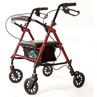Light Weight 4 Wheel Walker Rollator Height Adjust Padded Seat Carry Pouch Red ()