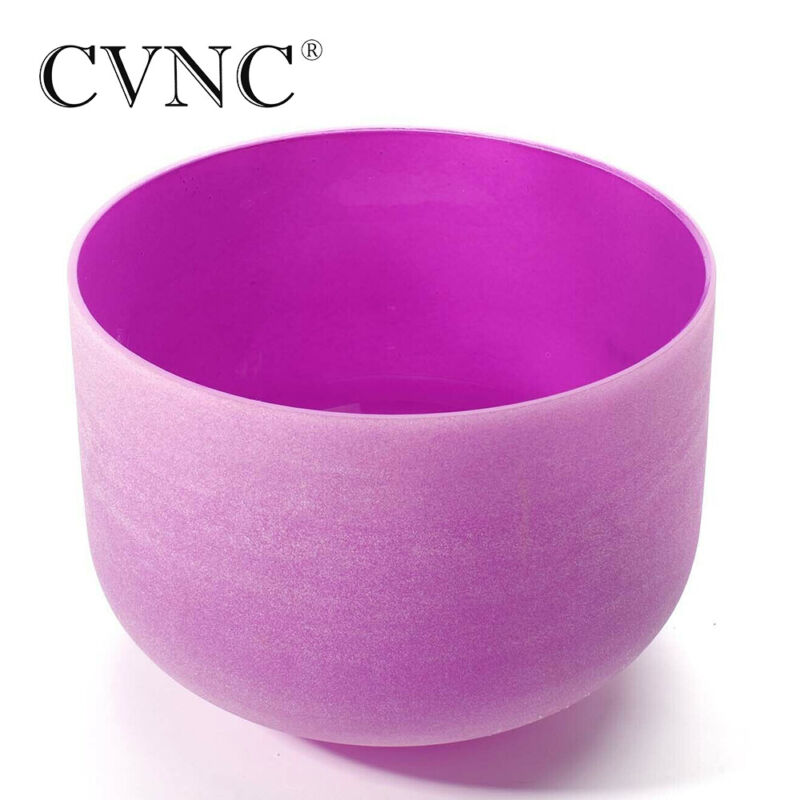 "CVNC 12"" B note Purple Colored Frosted Crown Chakra Quartz Crystal Singing Bowl"