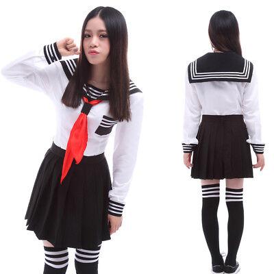 Japanese High School Girl Sailor Uniform Suit Cosplay Costume Dress Long - Sailor Suit