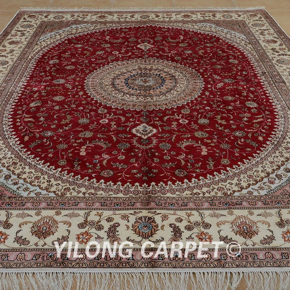 Silk Area Rug Hand knotted Red Kitchen