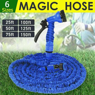 50-200FT Long Retractable Flexible Compact Garden Water Magic Hose Pipe Blue