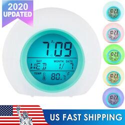 Battery Operated LCD Display Digital Smart Alarm Clock 6 Color Night Light Clock