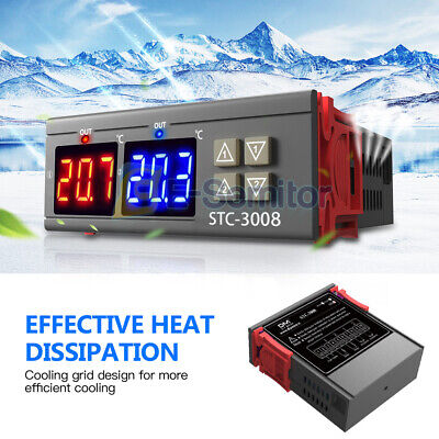 110v-220v Dual Display Stc-3008 Thermostat Temperature Controller W Ntc Probe