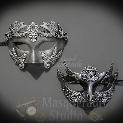 Couples Silver Roman and Silver Angel Costume Party Masquerade Masks Set](Angel Mask)