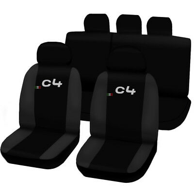 SEAT COVERS CITROËN C4 LINERS CAR SEATS TWO-COLOURED BLACK - DARK GREY