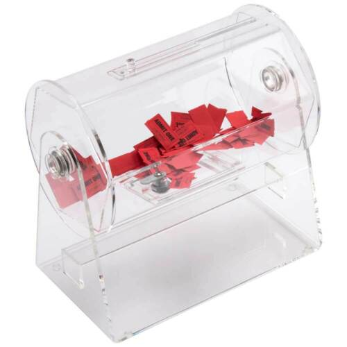 Small Acrylic Raffle Drum - Holds 2,000 Raffle Tickets. Drawing Spinning Lottery