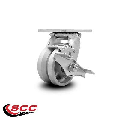 Scc 4 X 2 V Groove Semi Steel Wheel Swivel Caster Wbrake - 800lbscaster