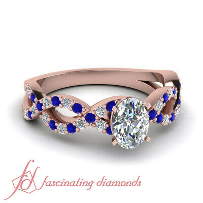 Round Blue Sapphire Pave Set Ring 1.10 Ct Oval Shaped Diamond In Rose Gold GIA