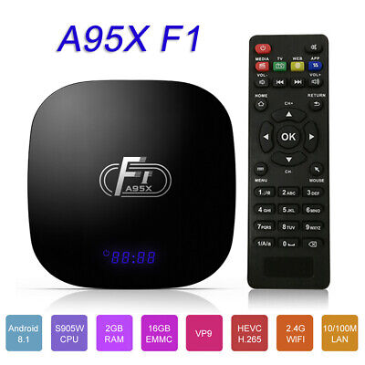 A95X F1 Android 8.1 TV Box S905W Quad Core VP9 H.265 2+16GB 2.4G WiFi TV Remote