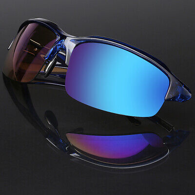 Half Frame Sport Mens Sunglasses with Blue Tech Color Mirror (Blue Mirror Lens Sunglasses)