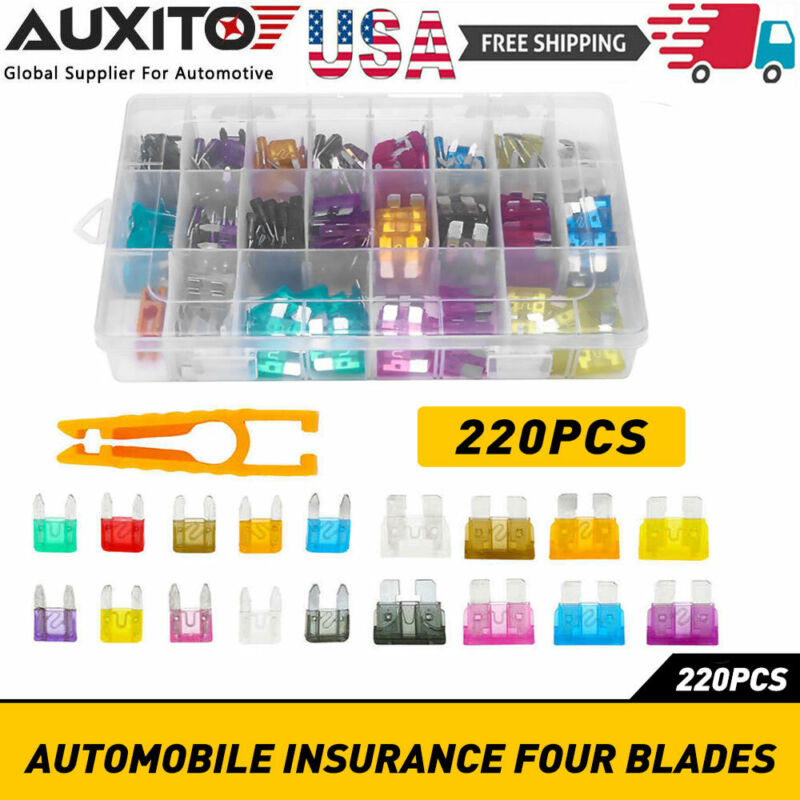220pc Blade Fuse Assortment Auto Car Truck Motorcycle FUSES Kit ATC ATO ATM USA