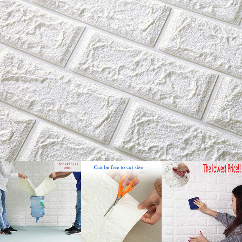 Home Decoration - DIY PE Foam 3D Self Adhesive Panels Wall Stickers Home Decor Embossed Brick