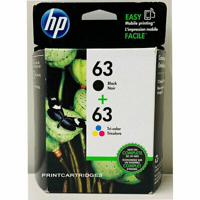 HP #63 Combo Ink Cartridges 63 Black Color NEW GENUINE