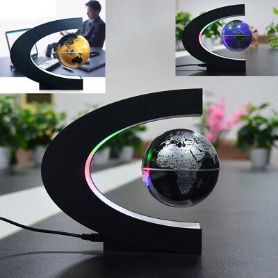 C Shape LED World Map Office Decoration Magnetic Levitation Floating Globe Light