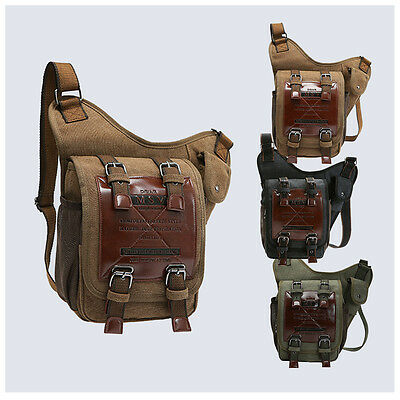 87c56e79c4 Mens Canvas Leather Satchel School Military Shoulder Bag Messenger Travel  Hiking фото